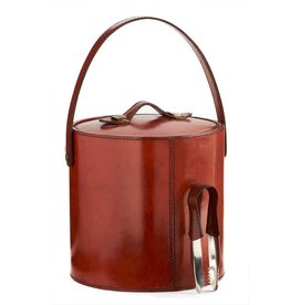 Ku0026K Interiors, Inc. Leather Ice Bucket With Tongs