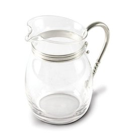 Vagabond House Classic Curved Glass Pitcher w Pewter Handle