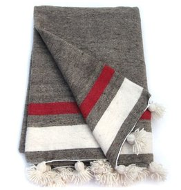 Antevasins Imports Moroccan Wool  Pom Pom Blanket - Natural with red stripe