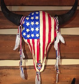 West Art Works USA Flag Bison Skull