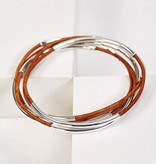 Gawdy Bobbles Classic Bangle - Light Antique Brown Silver