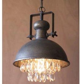Kalalou Metal Pendant Lamp w/ Hanging Crystals