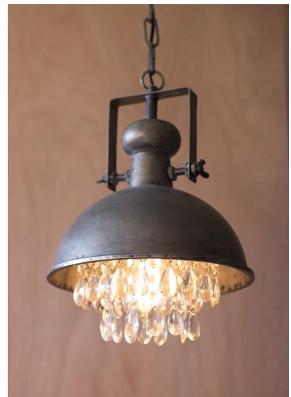 hanging pendant lighting. Kalalou Metal Pendant Lamp W/ Hanging Crystals Lighting