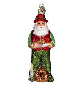 Old World Christmas Fly Fishing Santa Glass Ornament