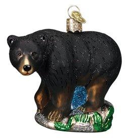 Old World Christmas Black Bear Glass Ornament
