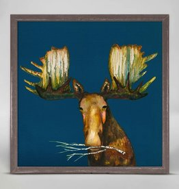 "Green Box Art Moose with Branch - 6""x6"""
