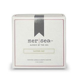 Mer-Sea Summer Day Boxed Candle & Agate Coaster