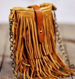Canoe Distressed Leather Fringe Mini Cross-Body Bag