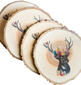 Knollwood Lane Floral Stag Coasters