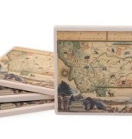 Xplorer Maps Montana Map Ceramic Coasters