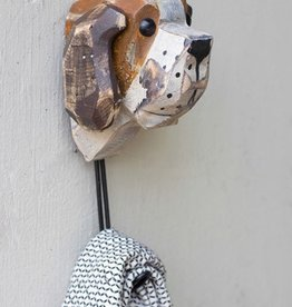 Kalalou Wooden Dog Head w/Hook