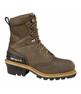 Carhartt Boot 8-Inch Crazy Horse Brown Waterproof Insulated Logger CML8169
