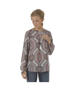 Wrangler LW5202M Long Sleeve Peasant Printed Top