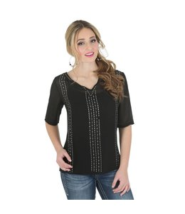 Wrangler Chiffon Top Rock 47® by Wrangler® Half Sleeve with Beading LJ4721X