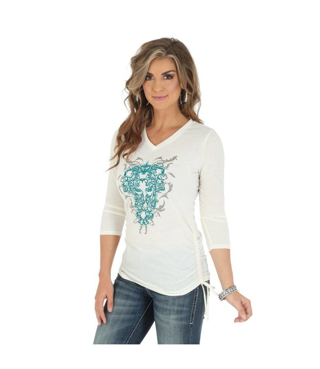 Wrangler Printed Top Rock 47® by Wrangler® Three Quarter Sleeve V Neck LJK212N