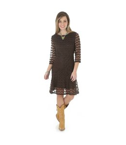 Wrangler Western Dress Rock 47® By Wrangler® Chocolate Brown 3/4 Sleeve LJD738E