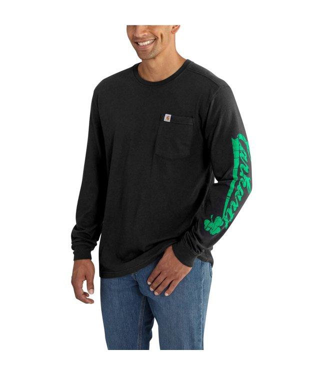 Carhartt Long Sleeve T-Shirt Maddock Graphic Carhartt Shamrock Sleeve-Logo 102559