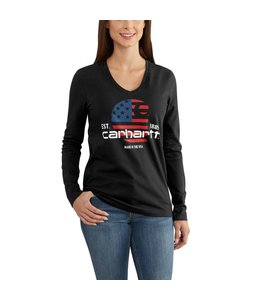 Carhartt Lubbock T-Shirt Graphic Filled Flag Long-Sleeve V-Neck 102768