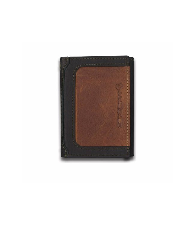Carhartt Wallet Trifold Black & Tan with Collectible Tin 61-2225