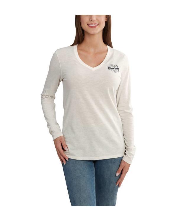 Carhartt T-Shirt V-Neck Long-Sleeve Graphic Stripe Logo Wellton 102762