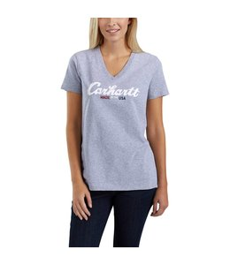 Carhartt T-Shirt Short-Sleeve V-Neck Lubbock Graphic Script Logo 103079