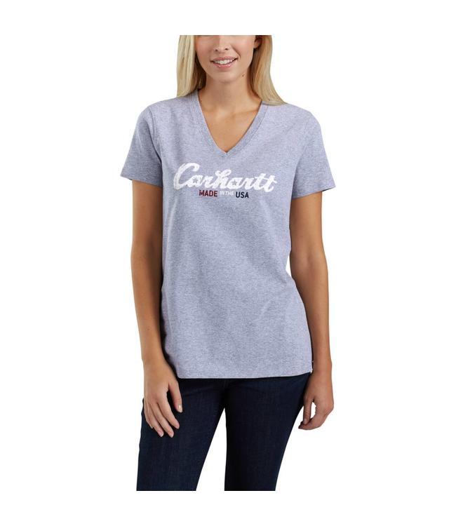 Carhartt T-Shirt Short-Sleeve V-Neck Lubbock Graphic Script Logo 103079