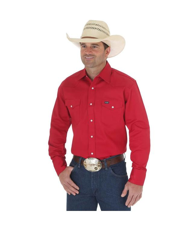 Wrangler Work Shirt Solid Snap Western Long Sleeve Firm Finish Cowboy Cut MS70619