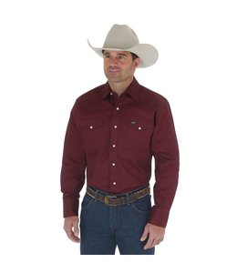 Wrangler Work Shirt Solid Snap Western Long Sleeve Firm Finish Cowboy Cut MS70719