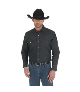 Wrangler Shirt Solid Spread Collar Long Sleeve Cowboy Cut Premium Performance Advanced Comfort MACW01D