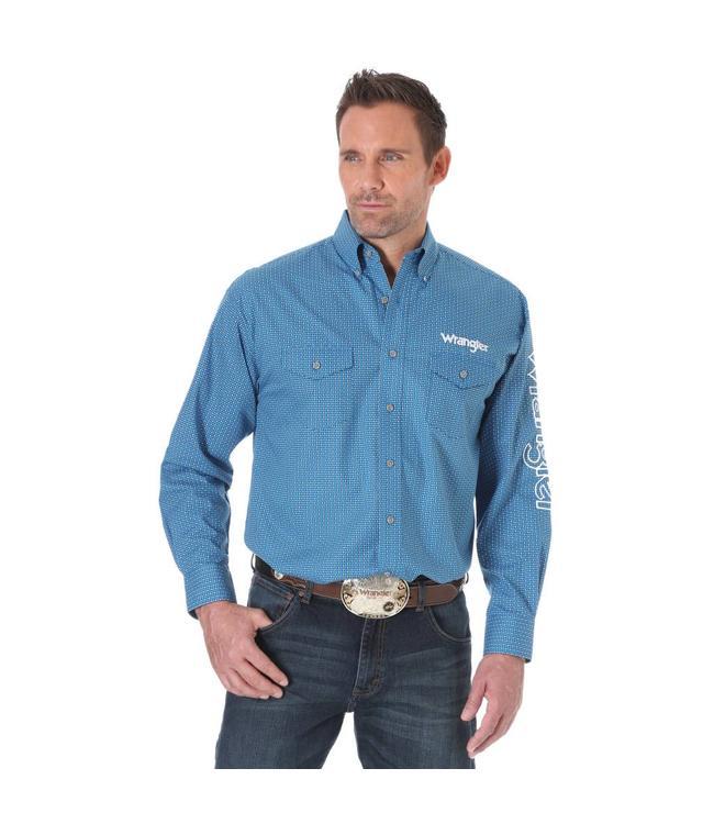 Wrangler Shirt Long Sleeve Button Down Wrangler Logo MP2334M