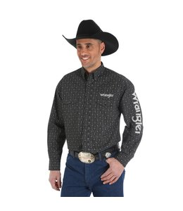 Wrangler Shirt Print Button Down Long Sleeve Wrangler Logo MP2329M