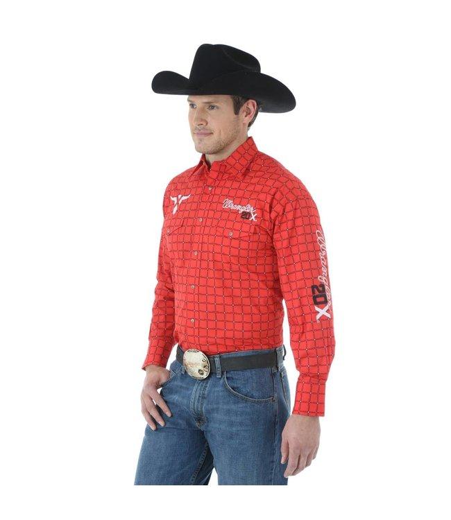 Wrangler Shirt Plaid Western Snap Long Sleeve 20X Logo MP1289M