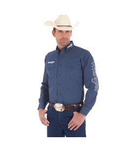Wrangler Shirt Print Button Down Long Sleeve Wrangler Logo MP2314M