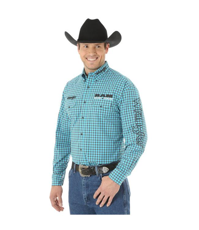 Wrangler Shirt Plaid Button Down Long Sleeve Ram Rodeo Series Logo MP2307M