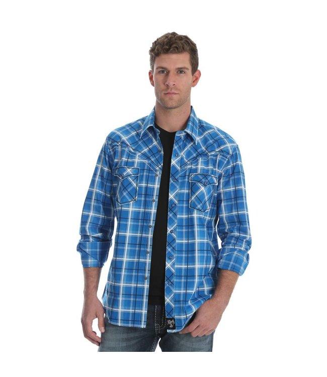 Wrangler Shirt Plaid Snaps Western Long Sleeve Rock 47 MRC329M
