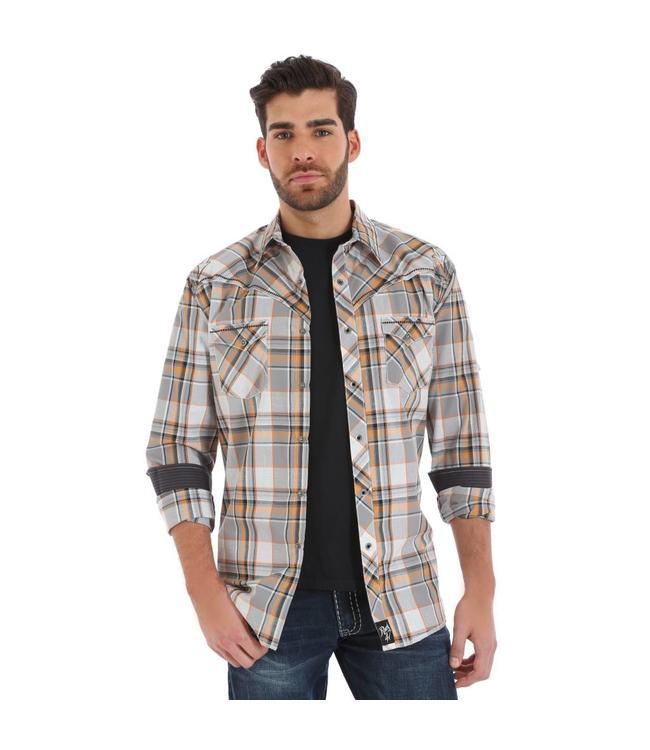 Wrangler Shirt Plaid Snaps Western Long Sleeve Rock 47 MRC310M