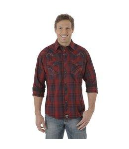 Wrangler Shirt Long Sleeve Plaid Snaps Western Rock 47 MRC295M