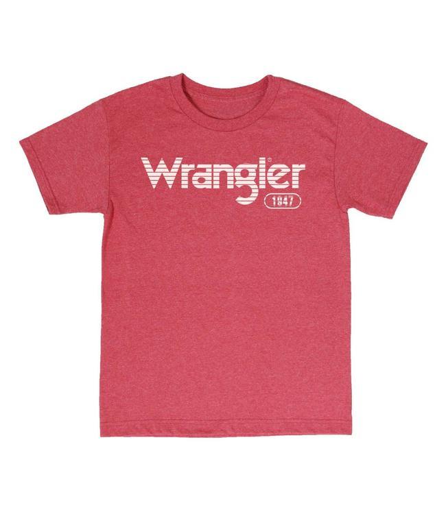 Wrangler T-Shirt Screenprint Short Sleeve Horizontal Stripe White Logo MQ7757R