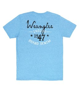 Wrangler T-Shirt Screenprint Short Sleeve 1947 Indigo Brand Denim MQ7741B