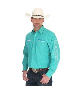 Wrangler Shirt Solid Button Down Long Sleeve Logo Ram Rodeo Series MP1303G