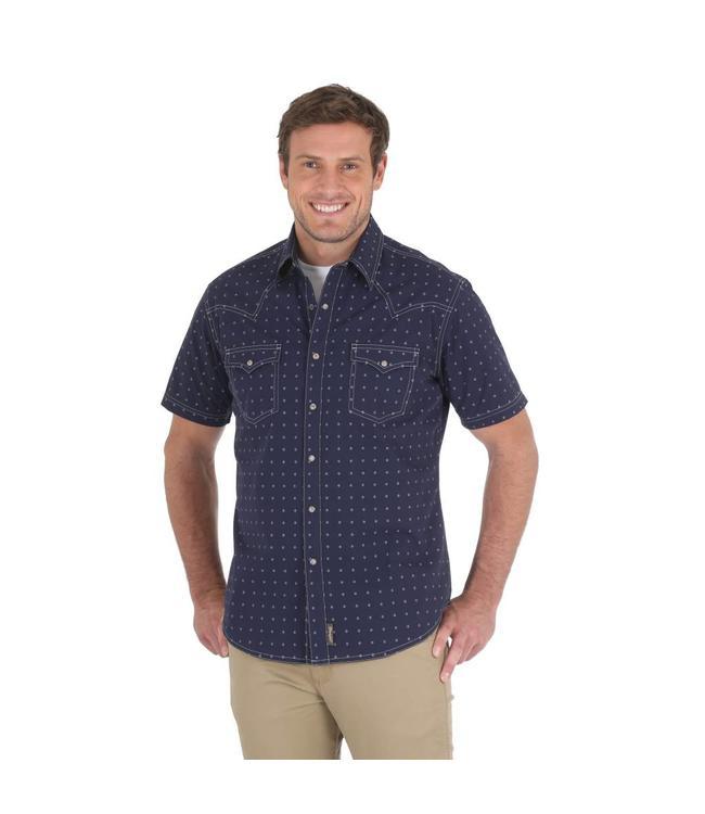Wrangler Shirt Short Sleeve Button Down Retro MVR348M