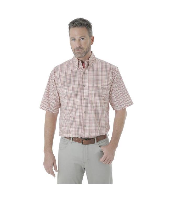 Wrangler Shirt Plaid Wrinkle Resist Rugged Wear RWS95BG