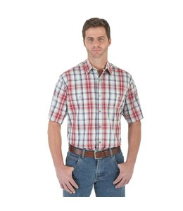 Wrangler Shirt Plaid Spread Collar Wrinkle Resist Rugged Wear RWS91RD