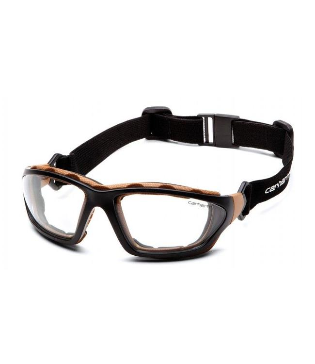 Carhartt Safety Glasses Carthage Black-Tan/Clear Anti-Fog Lens CHB410DTP