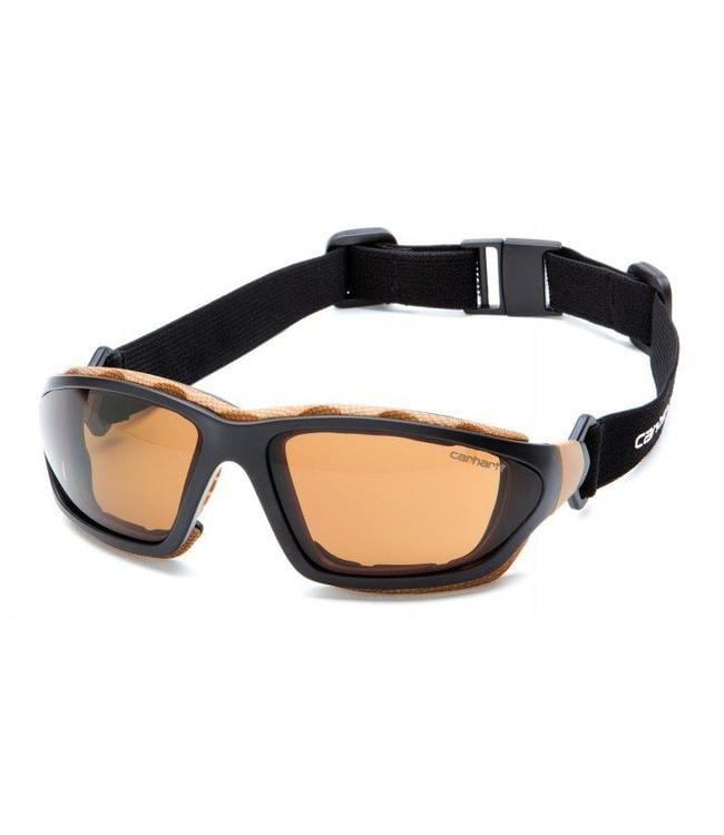 Carhartt Safety Glasses Carthage Black-Tan/Sandstone Bronze Anti-Fog Lens CHB418DTP
