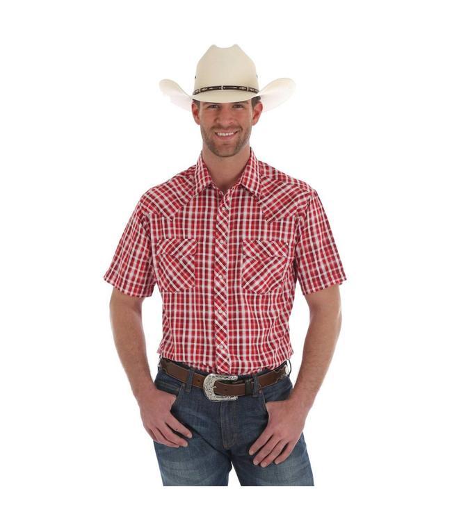 Wrangler Shirt Plaid Snap Western Short Sleeve Fashion MVG198M