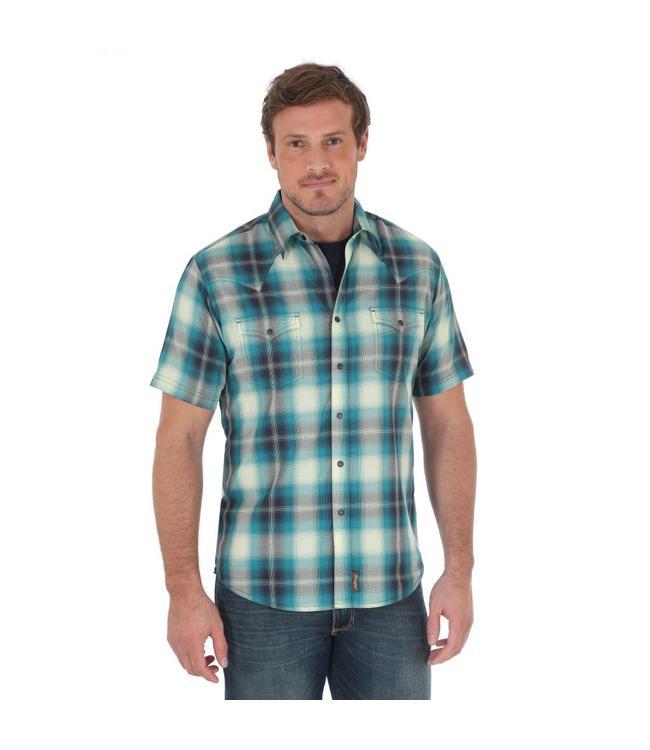 Wrangler Shirt Plaid Two Needle Topstitching Western Snap Short Sleeve Retro MVR364M