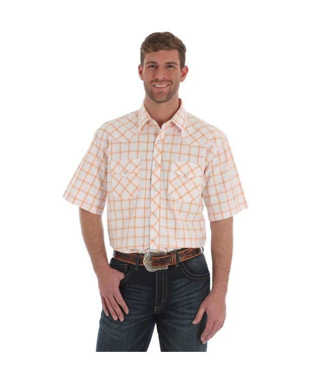 Wrangler Shirt Plaid Two Pocket Western Snap Short Sleeve Advanced Comfort 20X Competition MJC116M