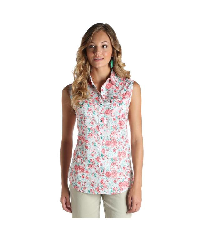 Wrangler Shirt Sleeveless Western Snaps One Point Yokes Floral Print LW6445M