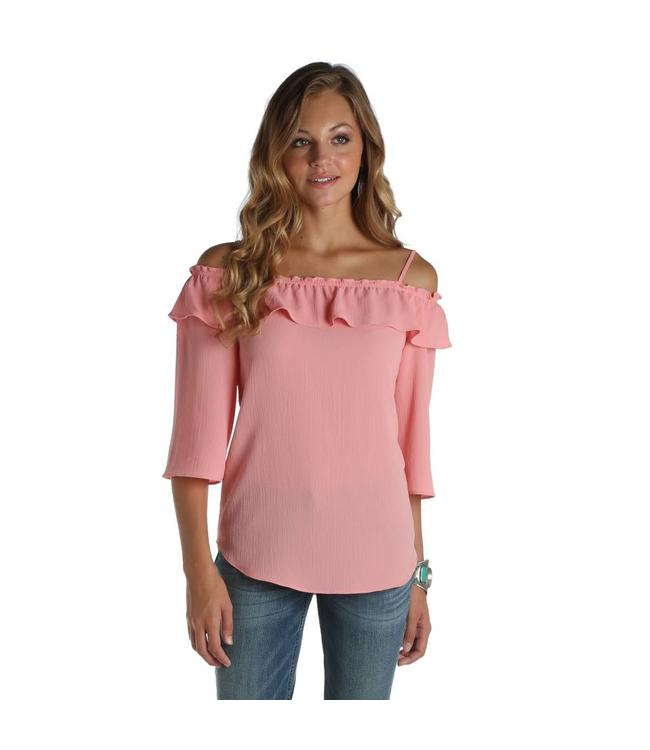 Wrangler Shirt Off The Shoulder With Straps And Ruffle Front LW6631K